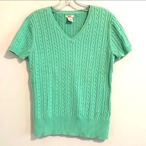 Izod Sherbet Green Cable Knit Short Sleeve Sweater